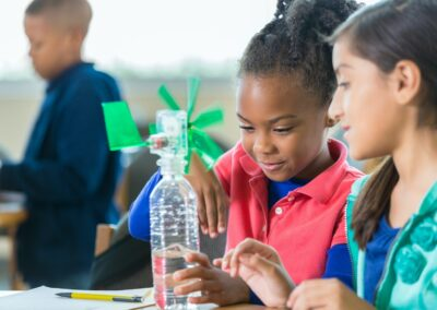 Students building windmill during elementary science class